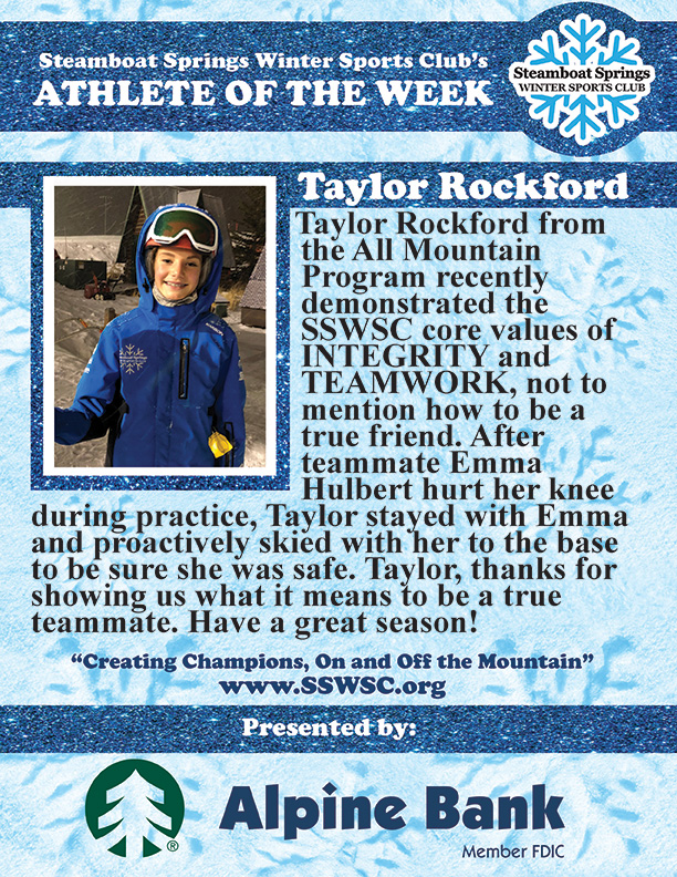 Athlete of the Week, Taylor Rockford