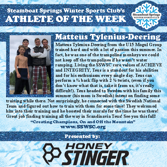 Athlete of the Week, Matteus Tylenius-Deering