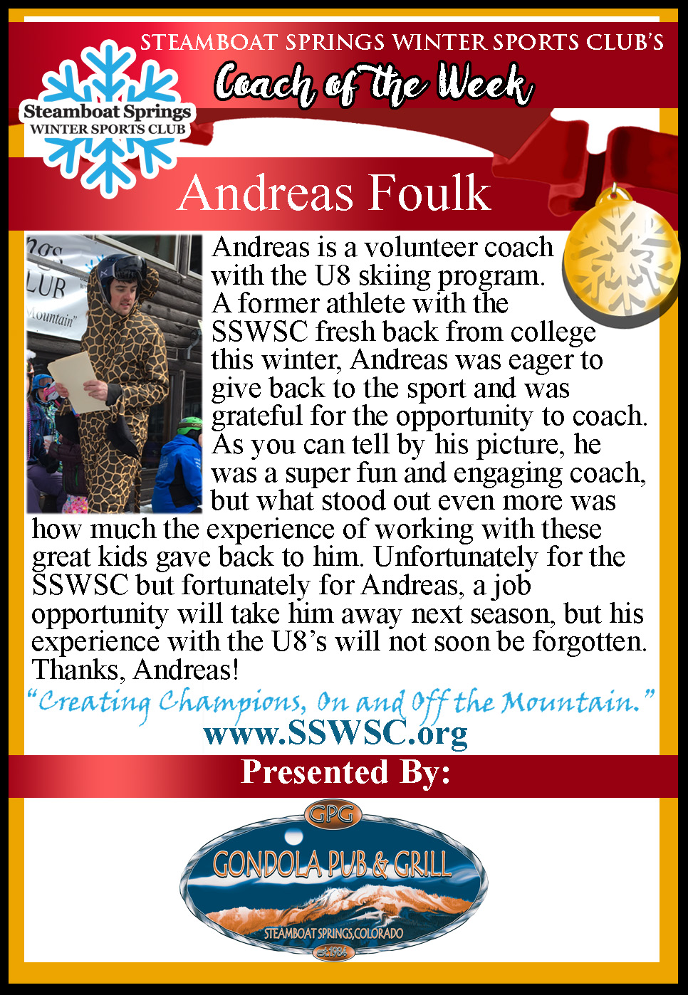 Coach of the Week, Andreas Foulk