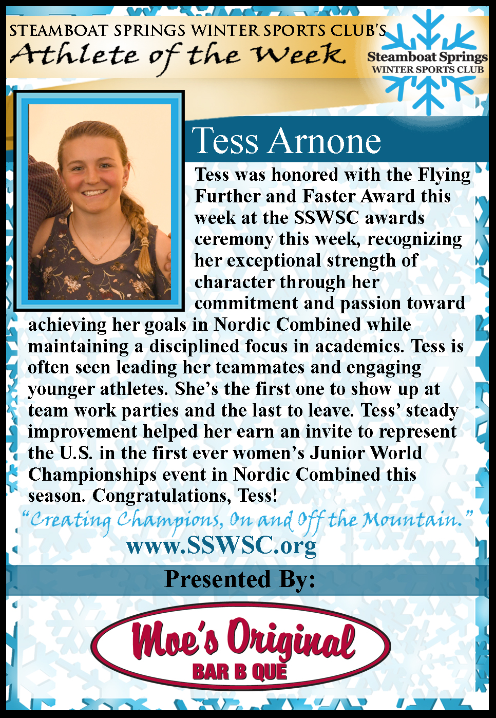 Athlete of the Week, Tess Arnone