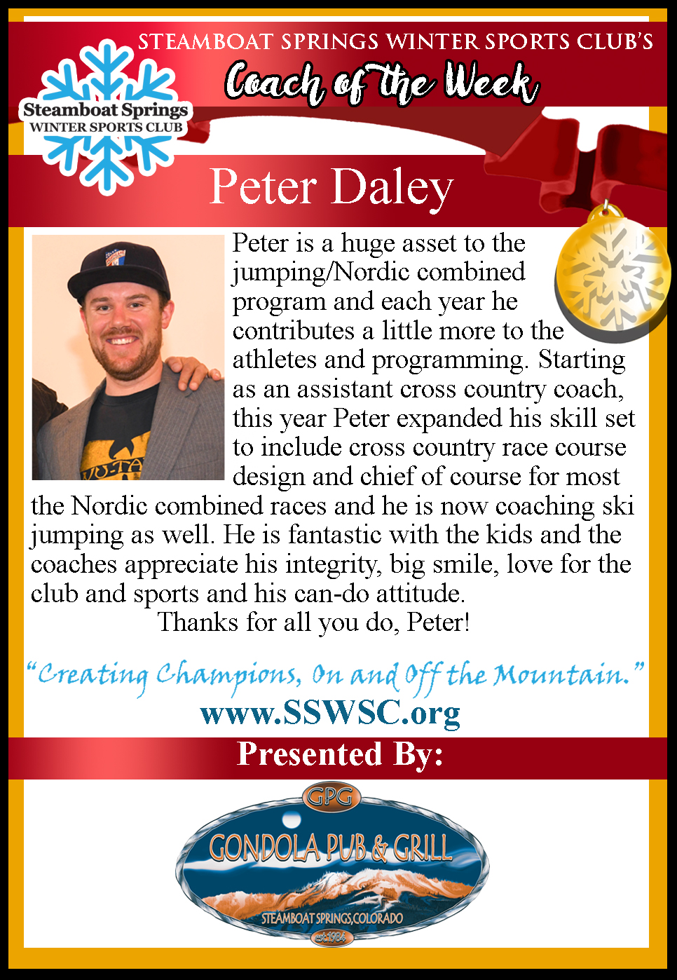 Coach of the Week, Peter Daley