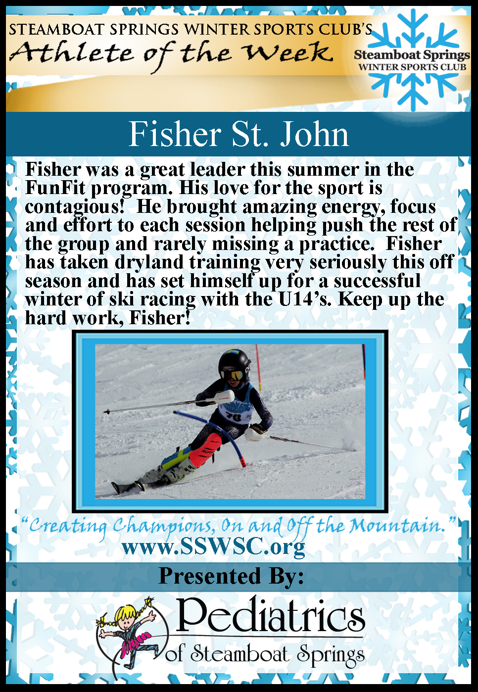 Athlete of the Week, Fisher St. John