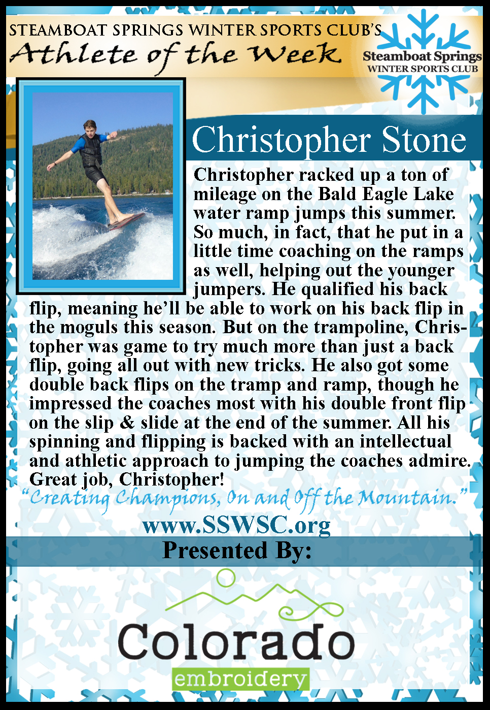 Athlete of the Week Christopher Stone