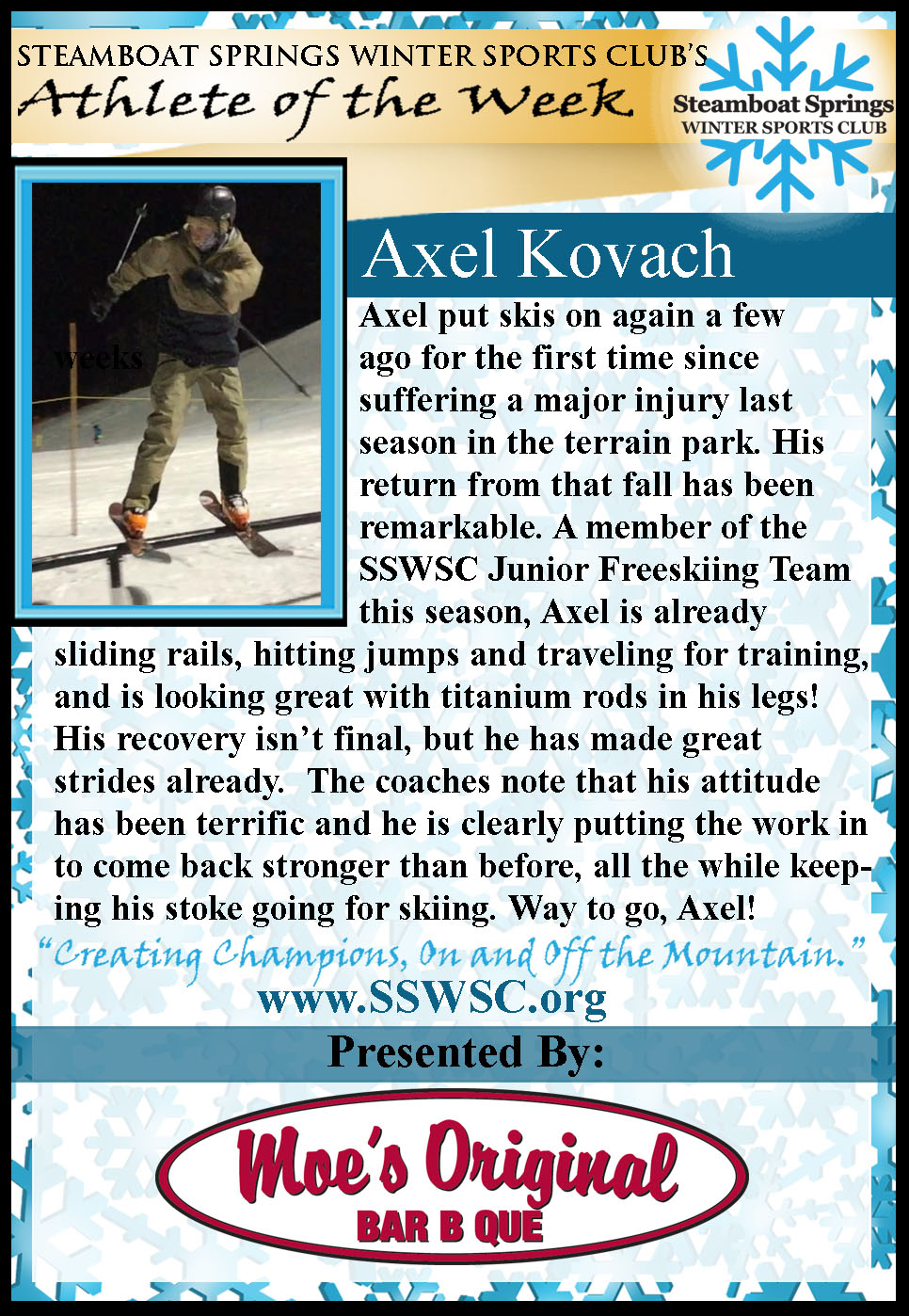 Athlete of the Week Axel Kovach