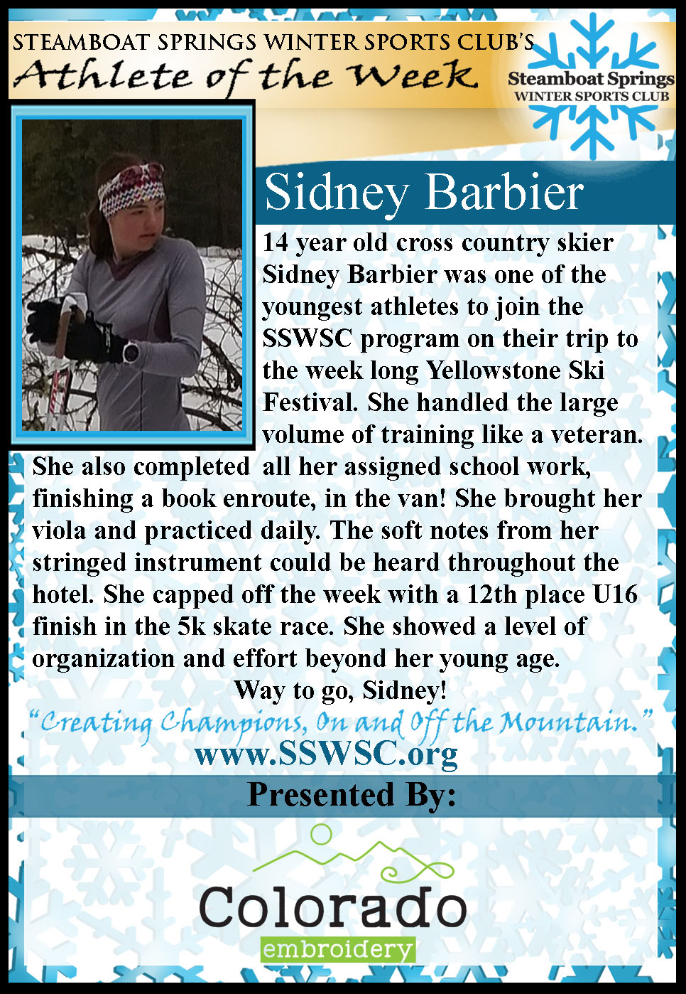 Athlete of the Week Sidney Barbier