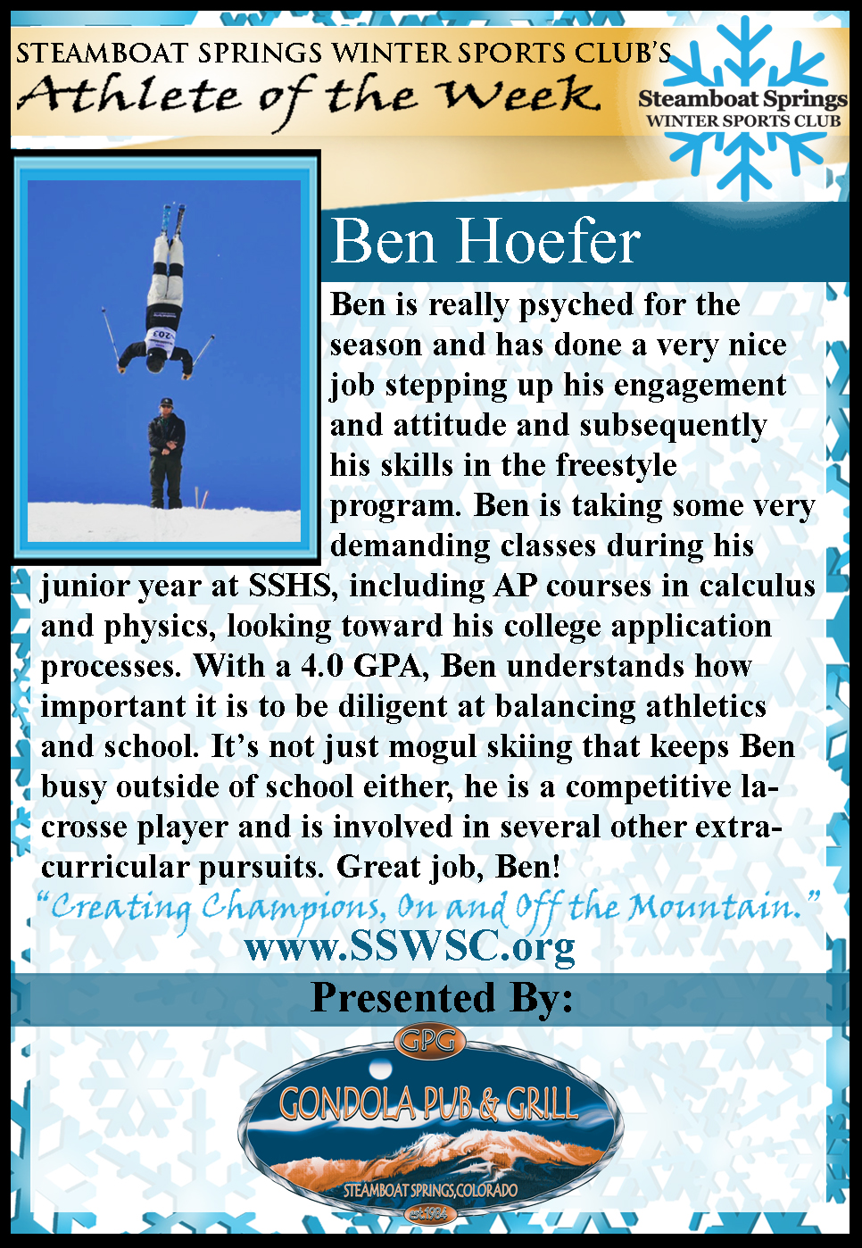 Athlete of the Week Ben Hoefner