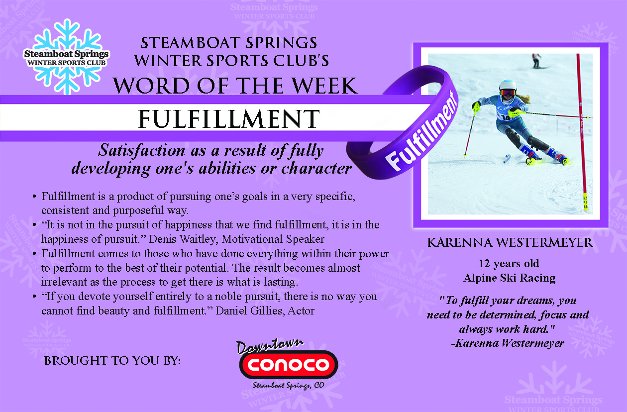 Word of the Week, Fulfillment