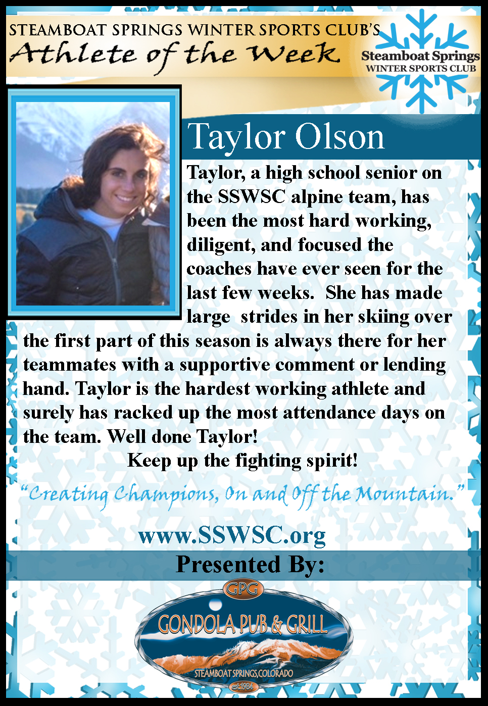 Athlete of the Week Taylor Olson
