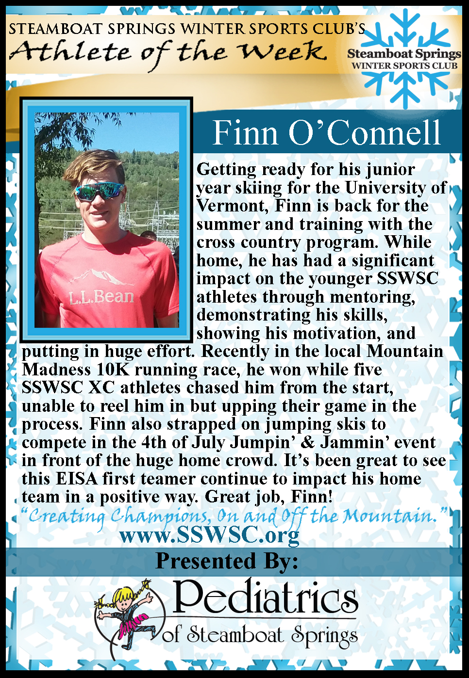 Athlete of the Week Finn O'Connell