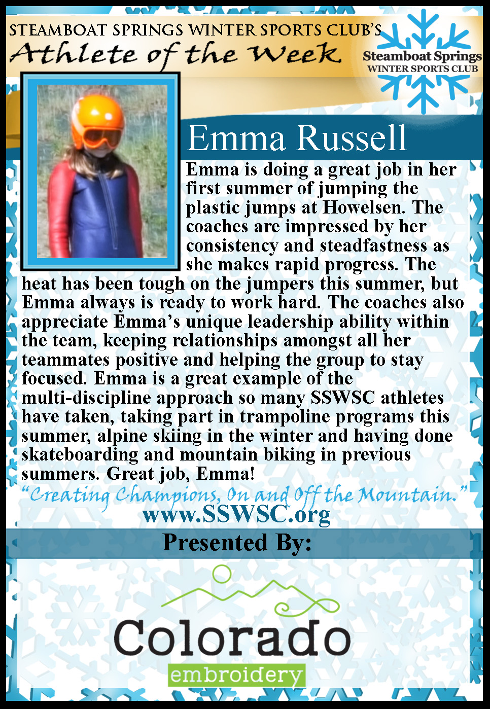 Athlete of the Week Emma Russell