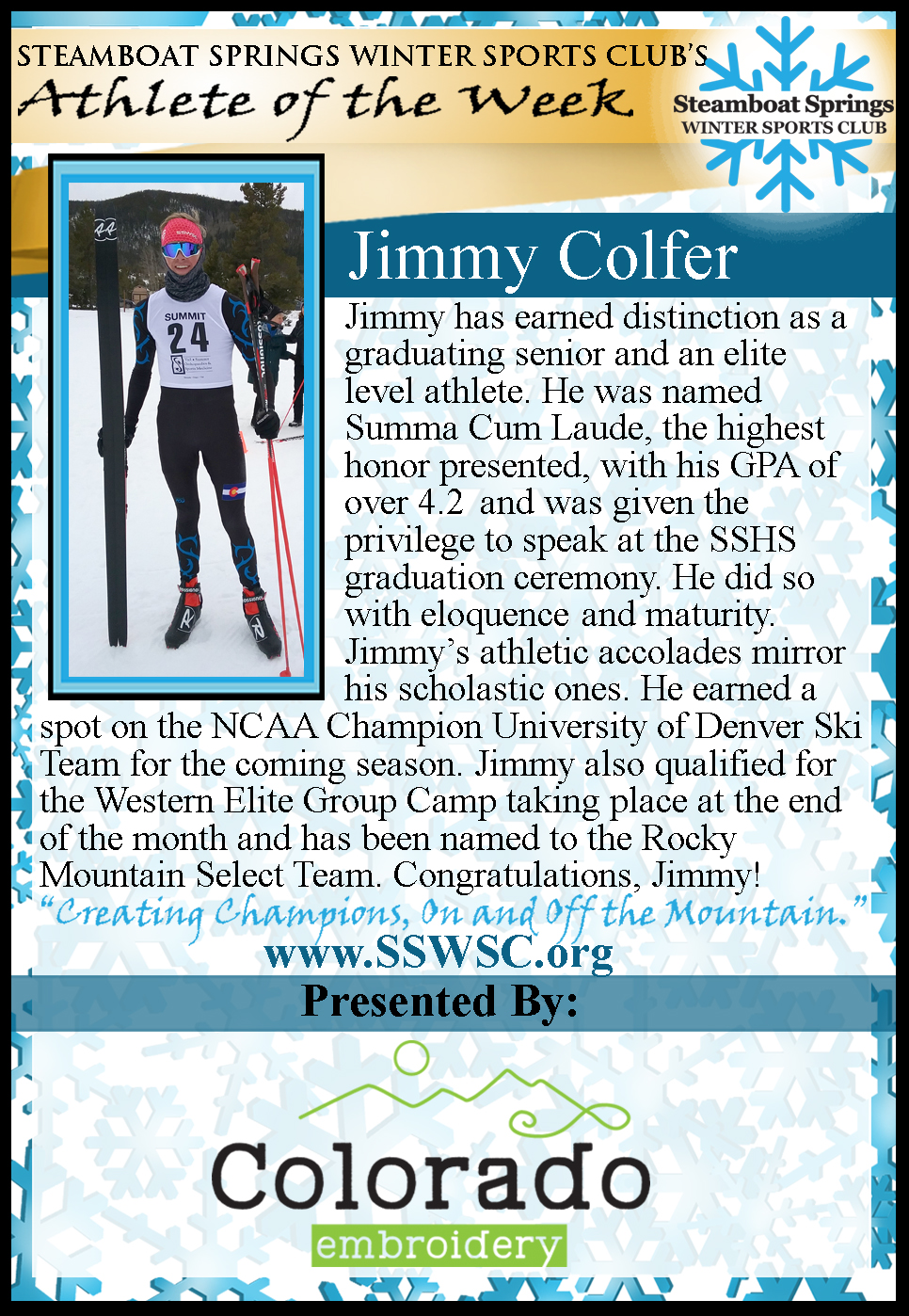 Athlete of the Week Jimmy Colfer