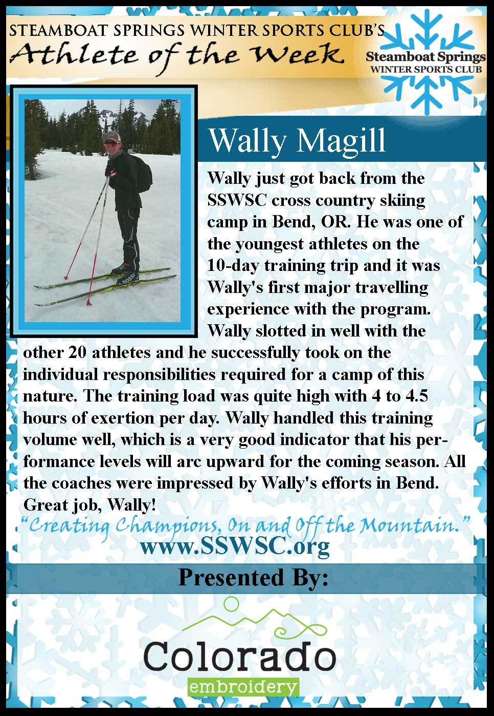 Athlete of the Week - Wally Magill