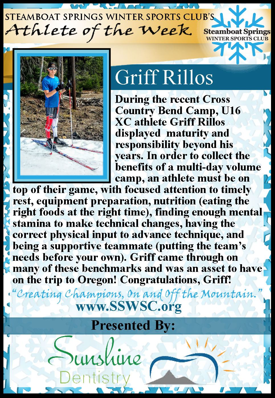 Athlete of the Week, Griff Rillos