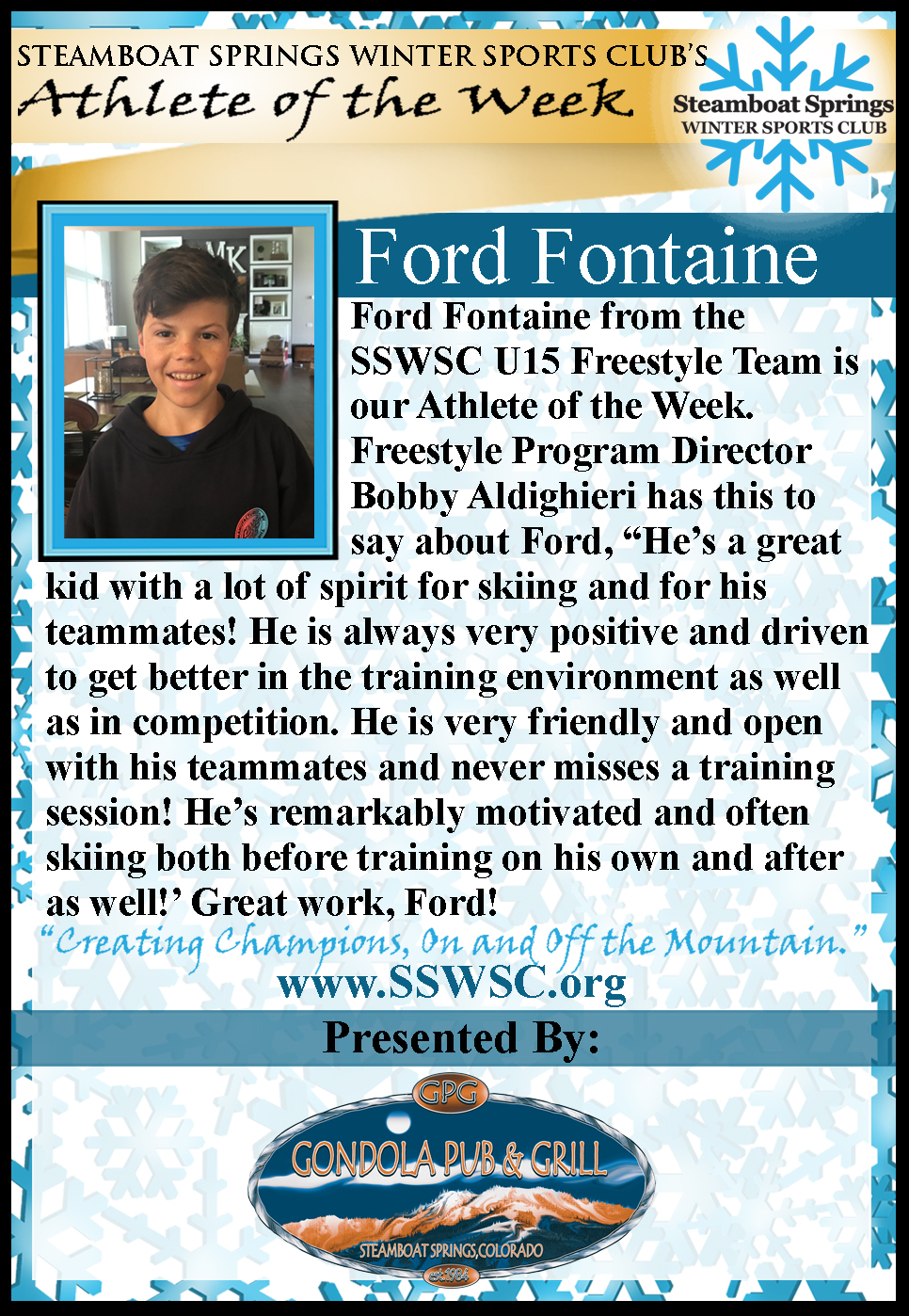 Athlete of the Week, Ford Fontaine