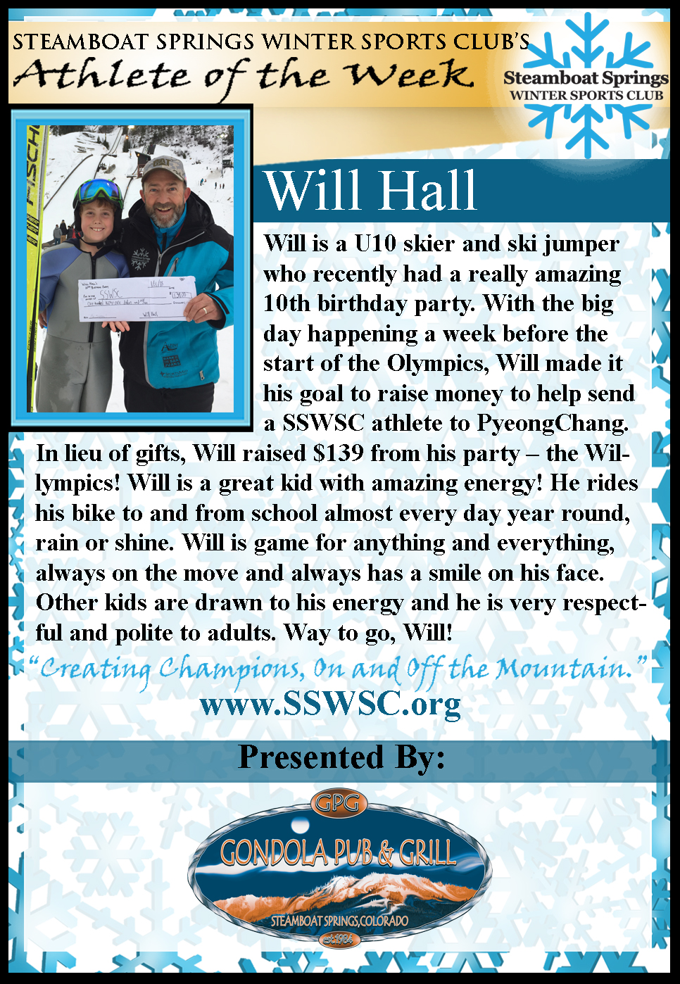Athlete of the Week, Will Hall