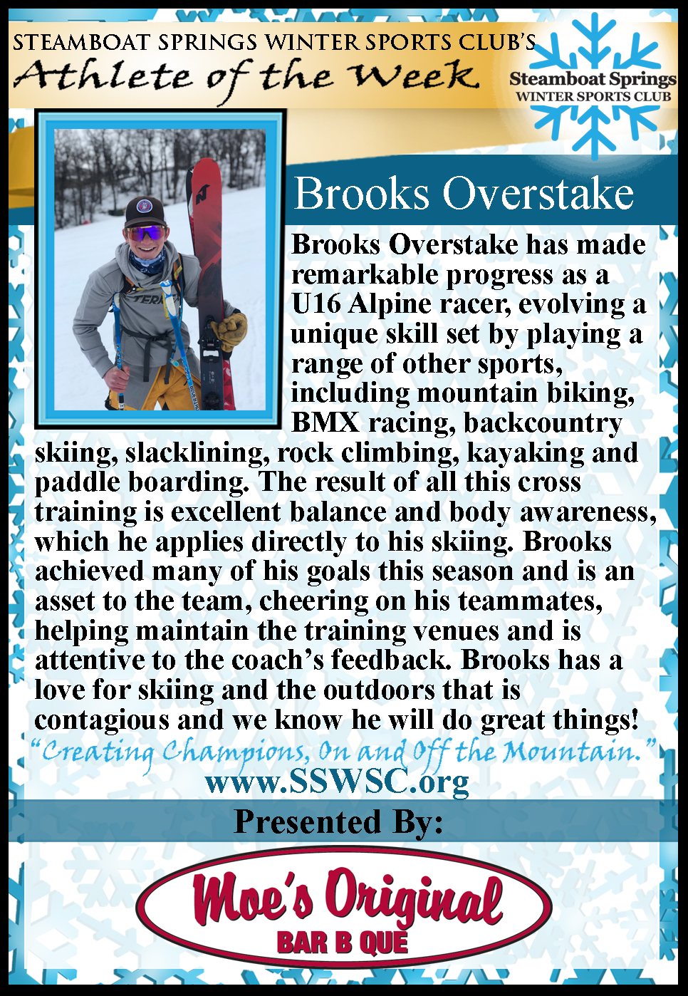 Athlete of the Week, Brooks Overstake