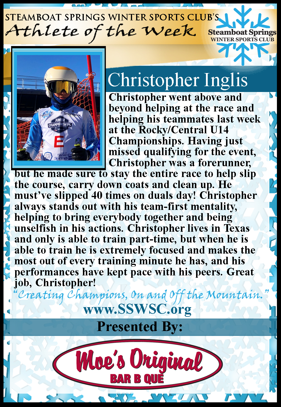 Athlete of the Week, Christopher Inglis