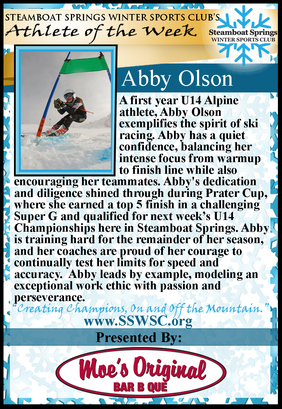 Athlete of the Week, Abby Olson