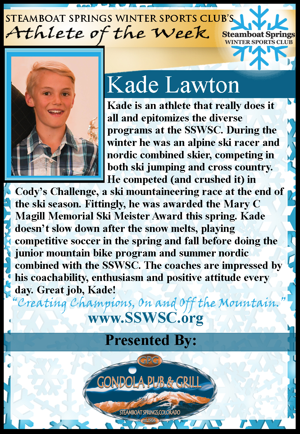 Athlete of the Week Kade Lawton