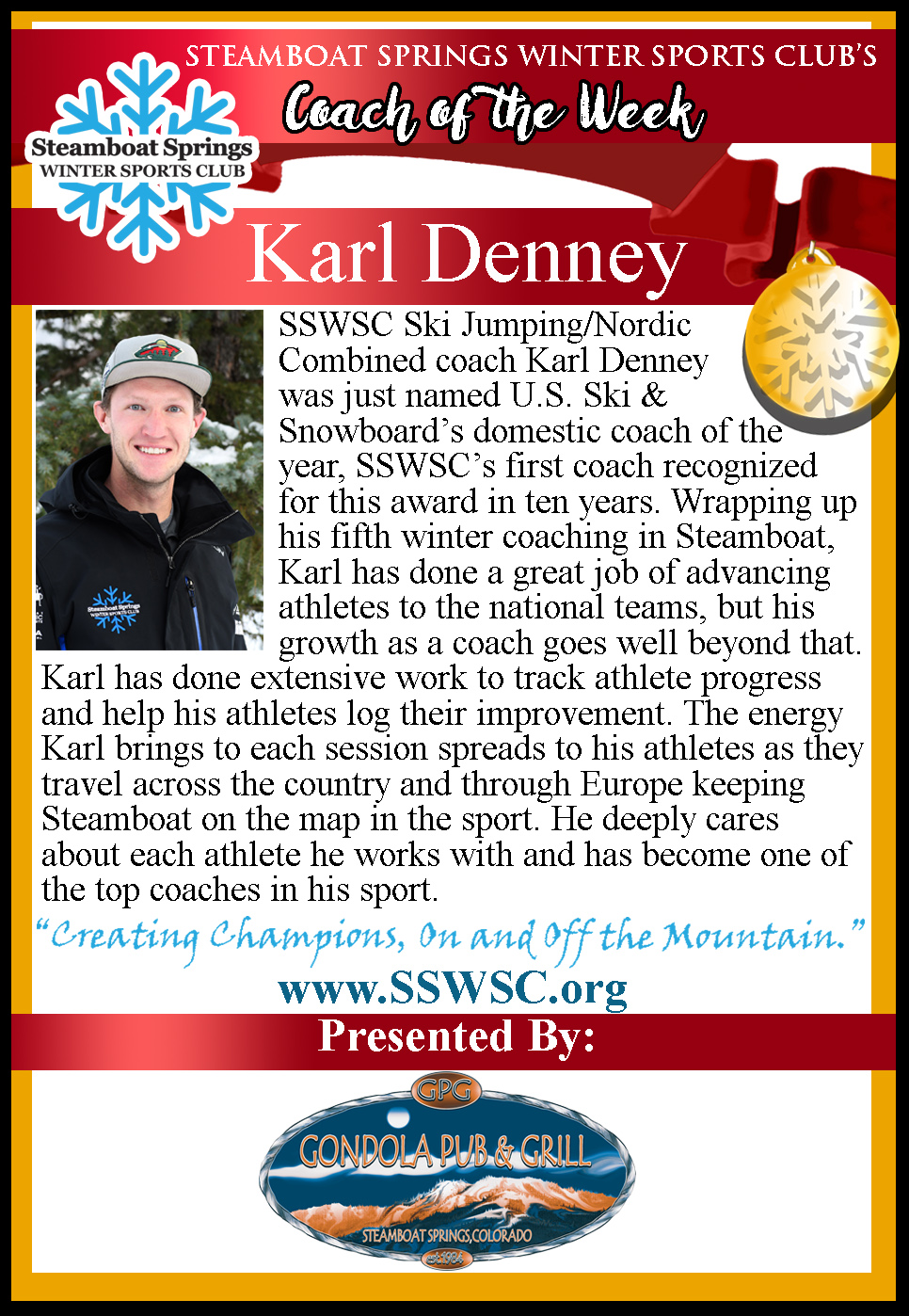 Coach of the Week, Karl Denney