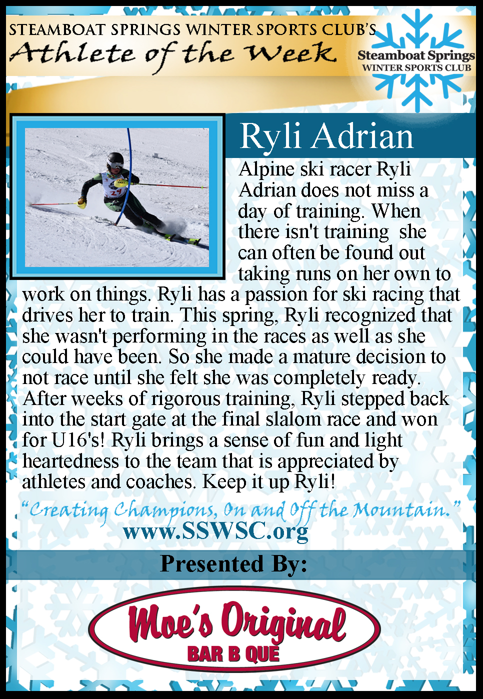 Athlete of the Week Ryli Adrian