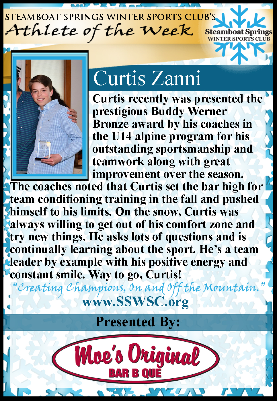 Athlete of the Week, Curtis Zanni