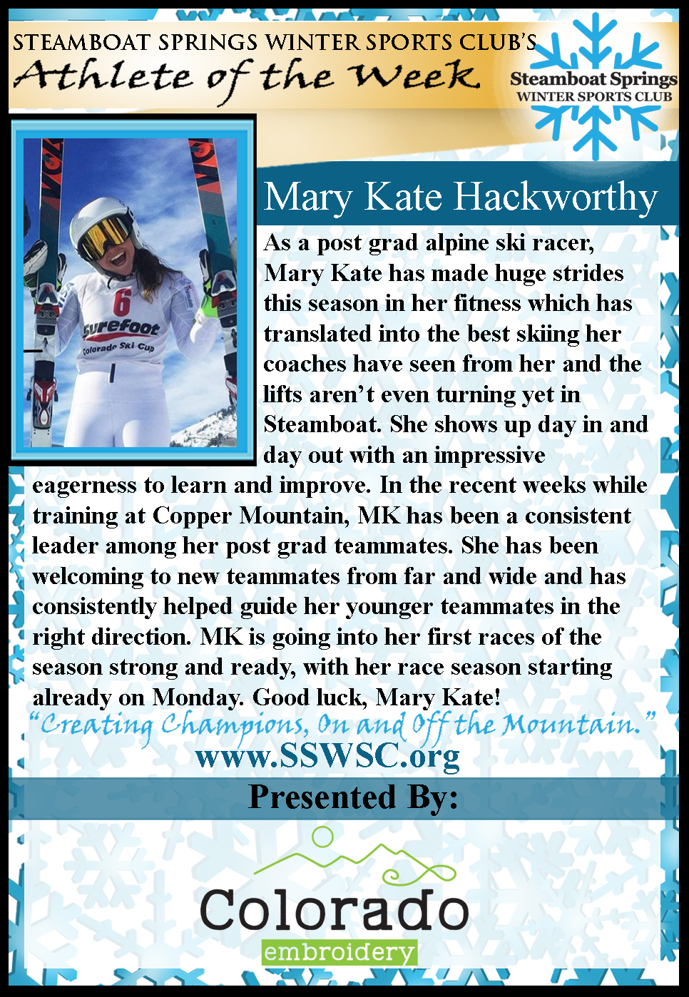 Athlete of the Week Mary Kate Hackworthy