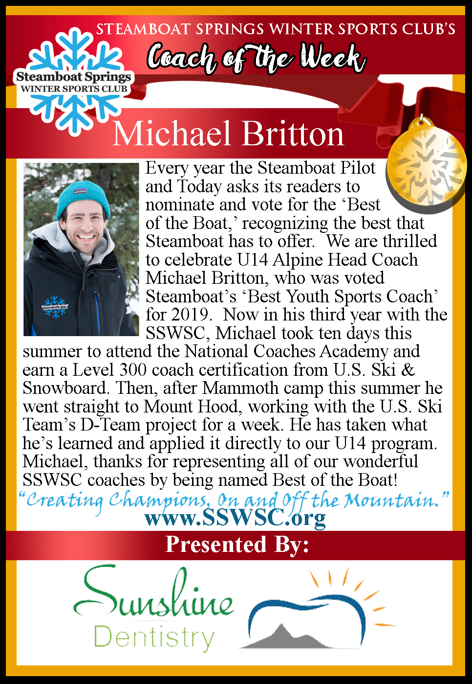 Coach of the Week, Michael Britton