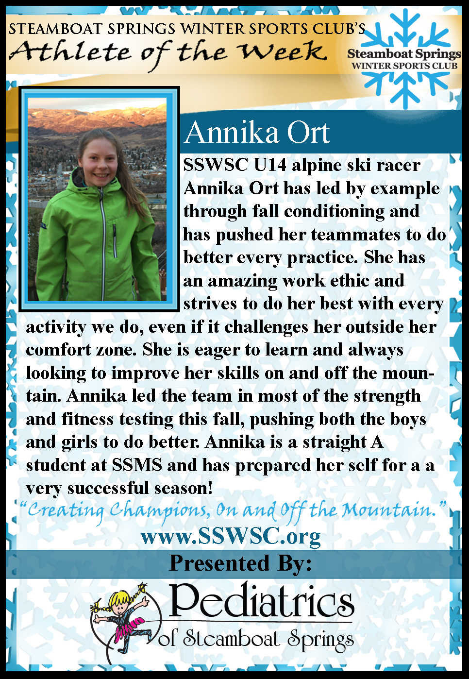 Athlete of the Week Annika Ort