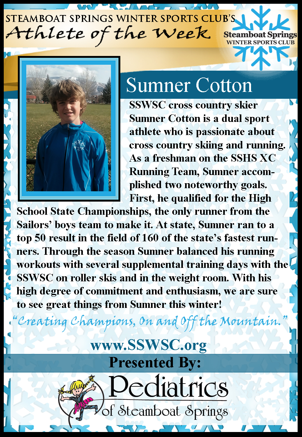 Athlete of the Week Sumner Cotton