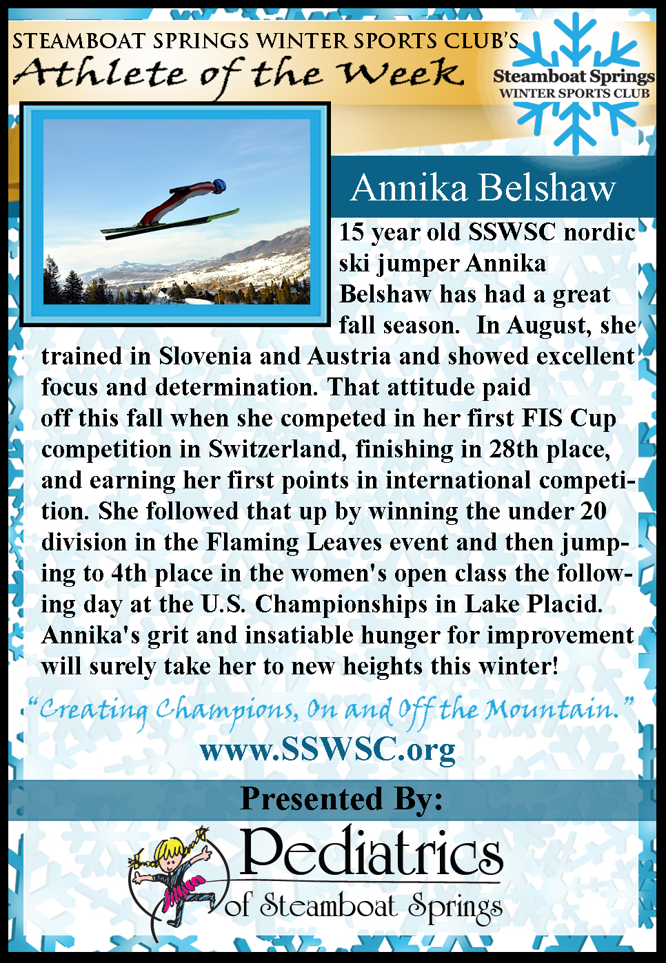 Athlete of the Week Annika Belshaw