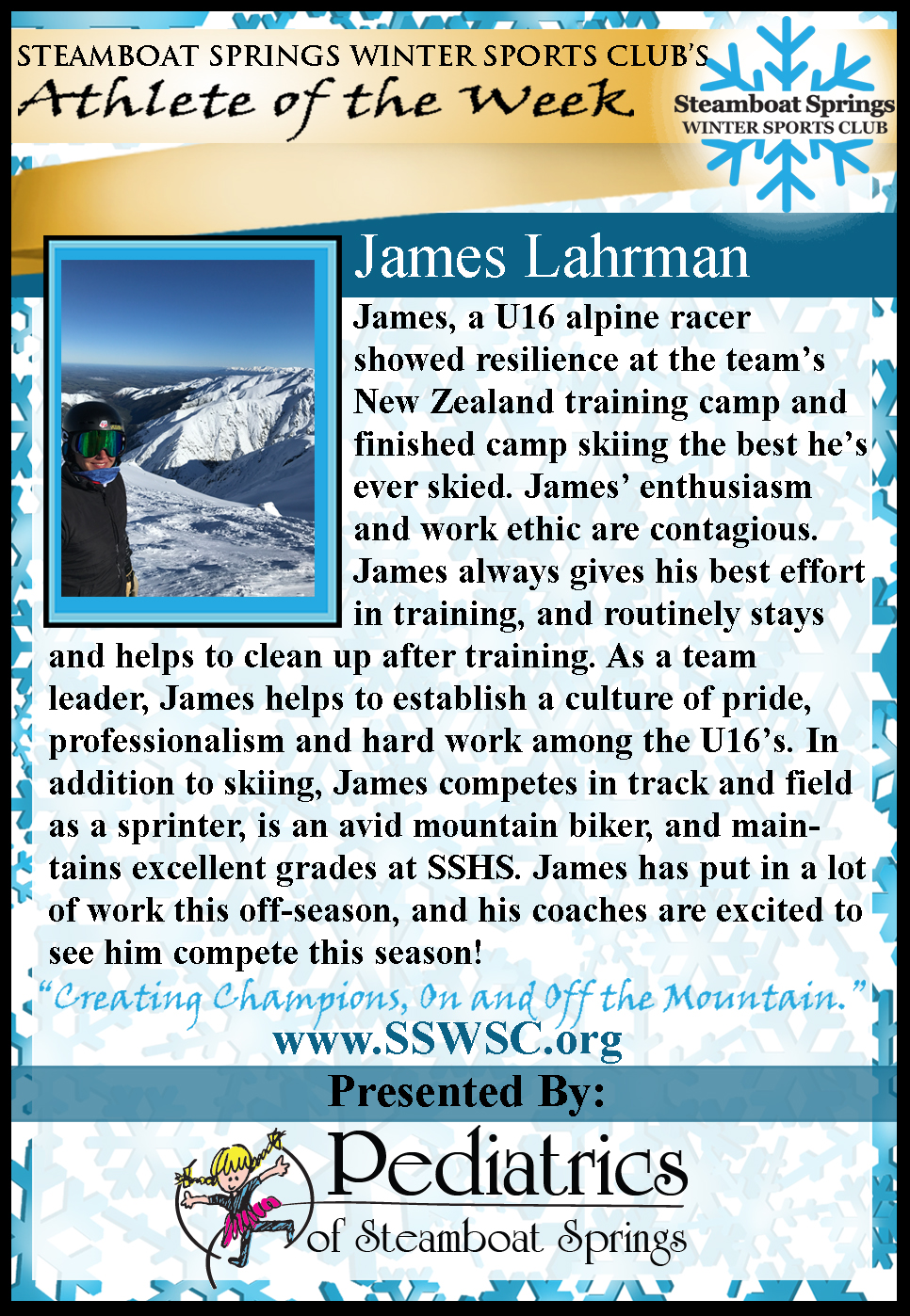 Athlete of the Week James Lahrman