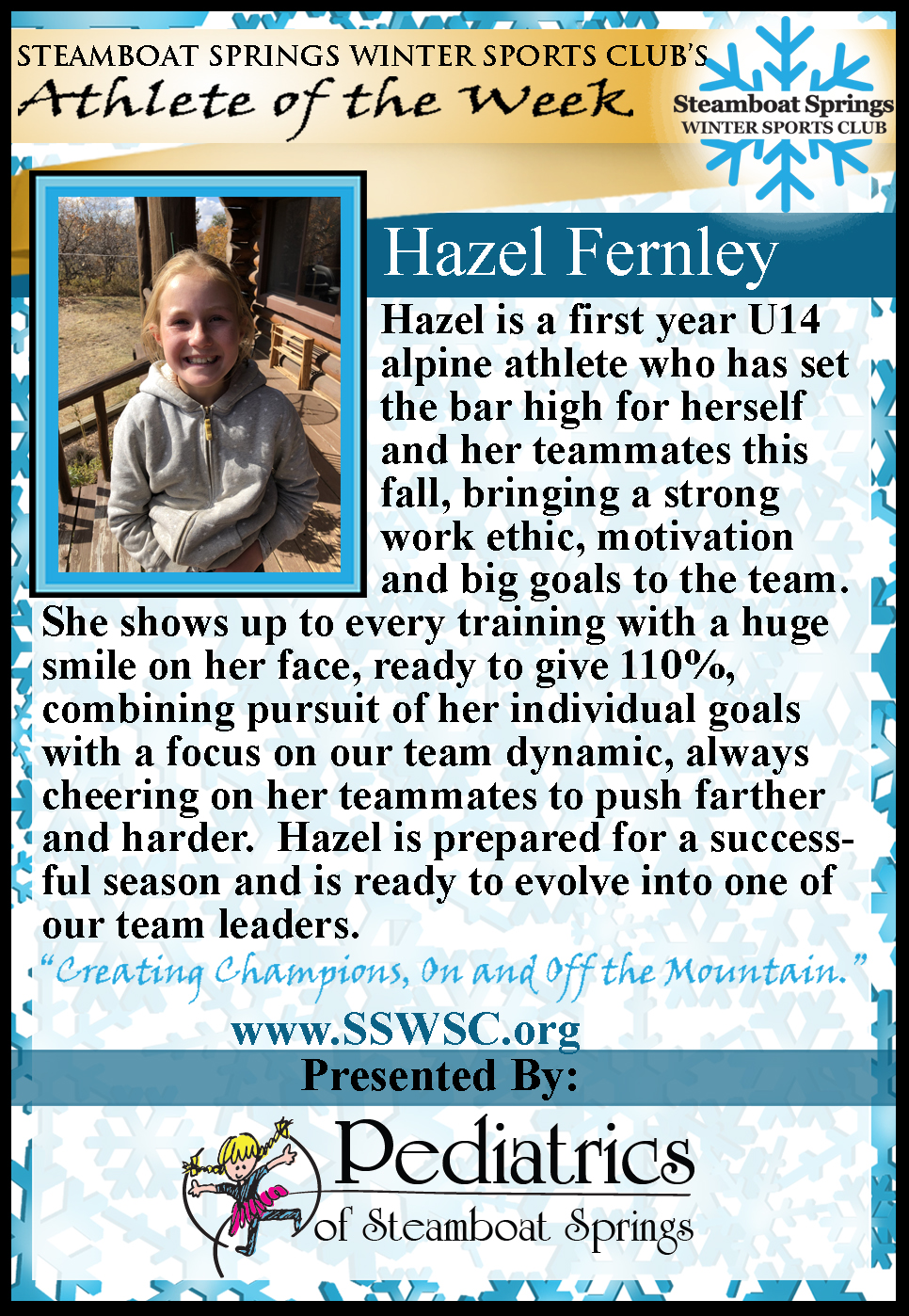 Athlete of the Week, Hazel Fernley
