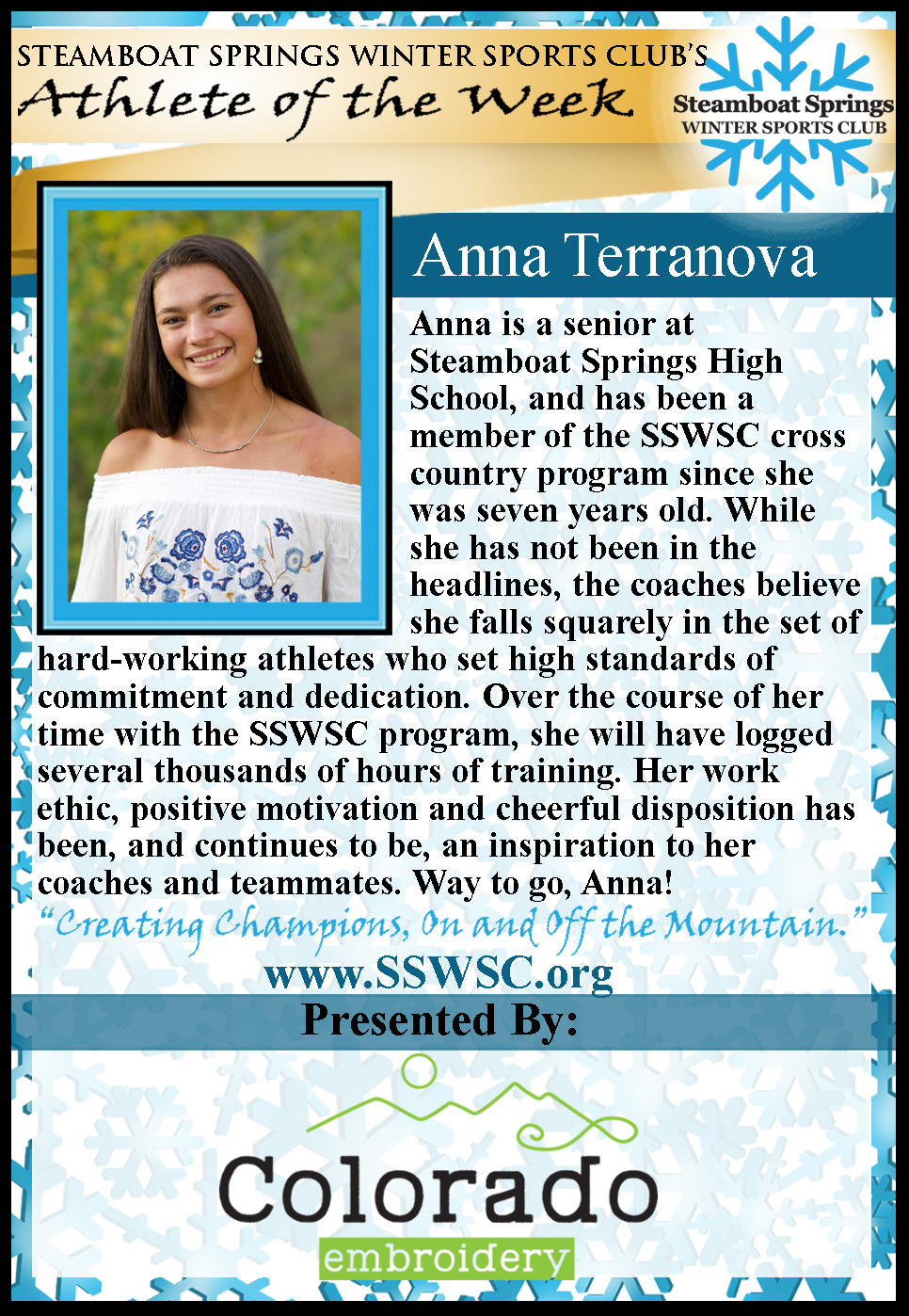 Athlete Of the Week Anna Terranova