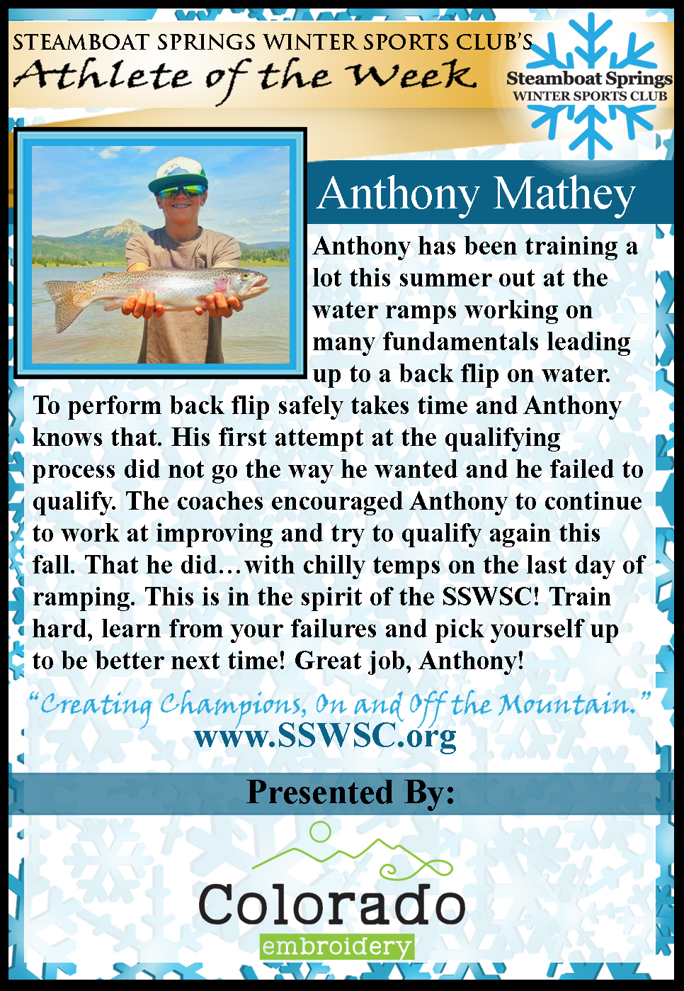 Athlete of the week Anthony Mathey