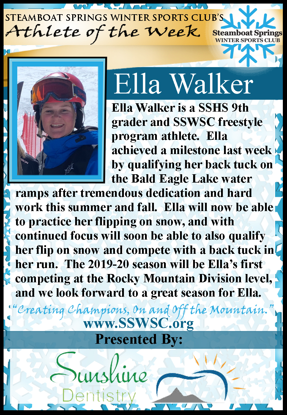Athlete of the Week, Ella Walker