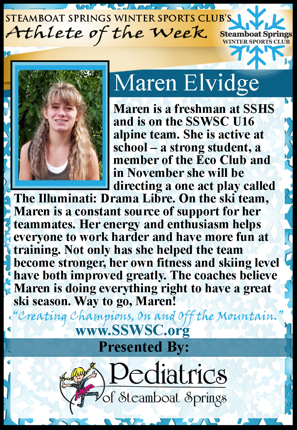 Athlete of the Week, Maren Elvidge