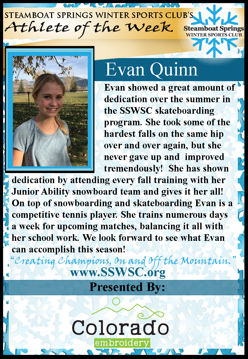Athlete of the Week Evan Quinn