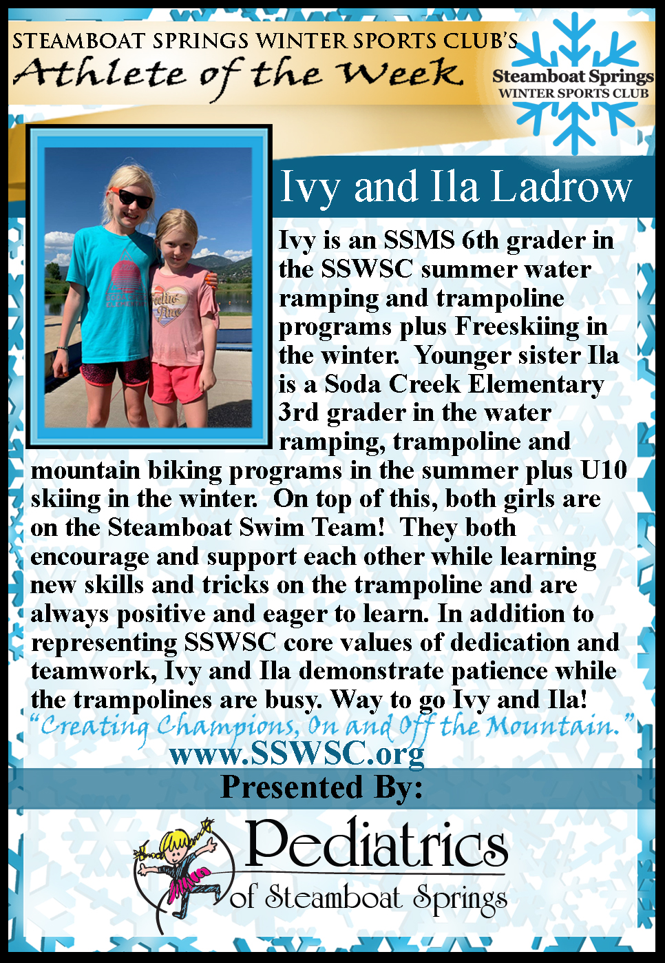 Athlete(s) of the Week: Ivy and Ila Ladrow