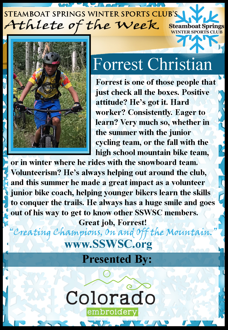 Athlete Of the Week Forrest Christian