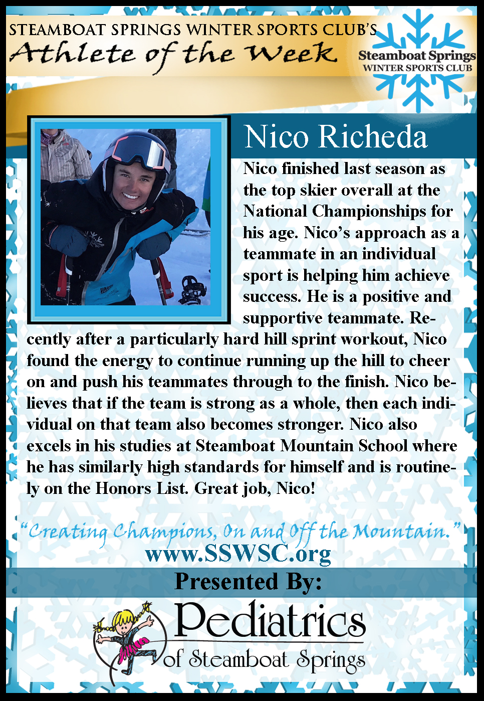 Athlete of the Week Nico Richeda