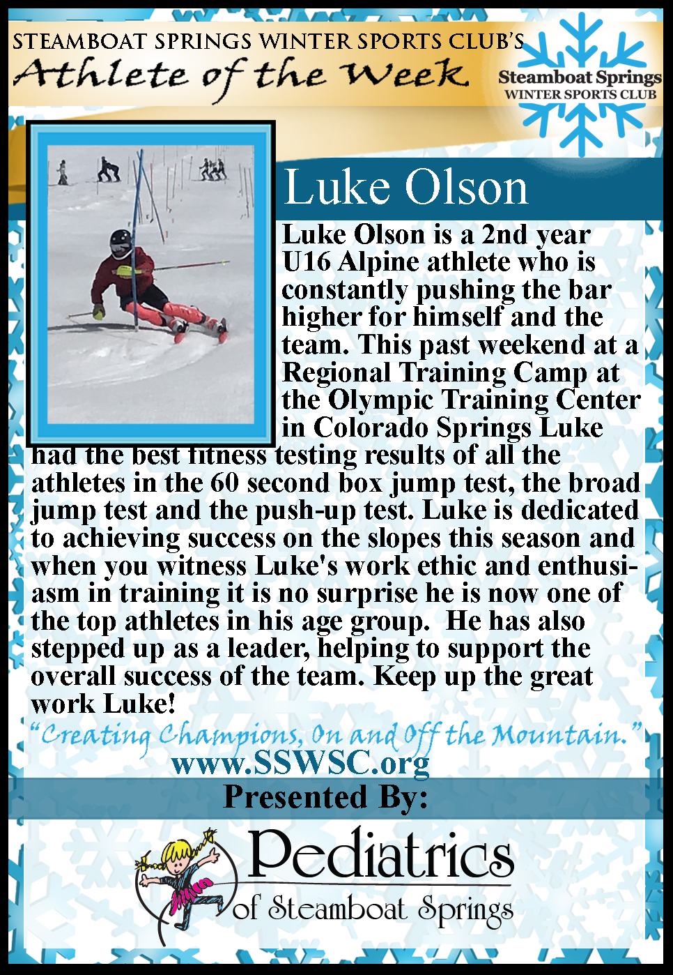 Athlete of the Week, Luke Olson