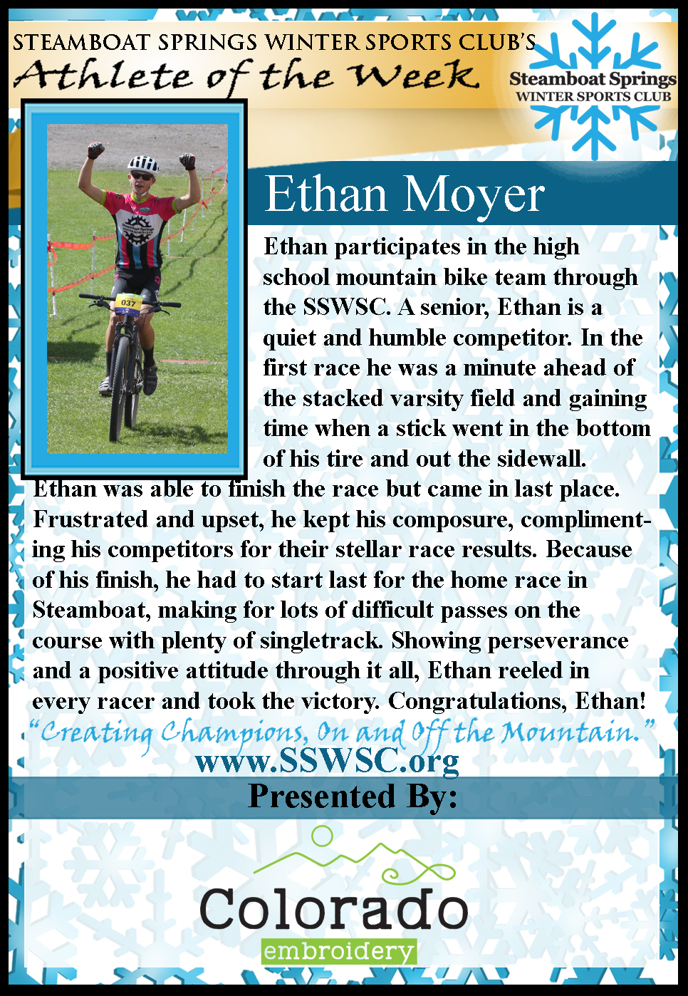 Athlete of the Week Ethan Moyer
