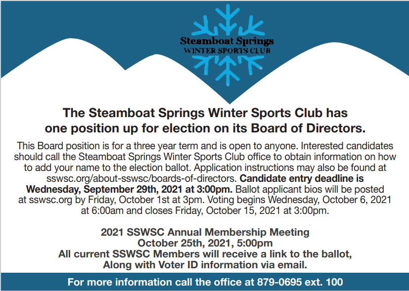 SSWSC has one position up for election on its Board of Directors!